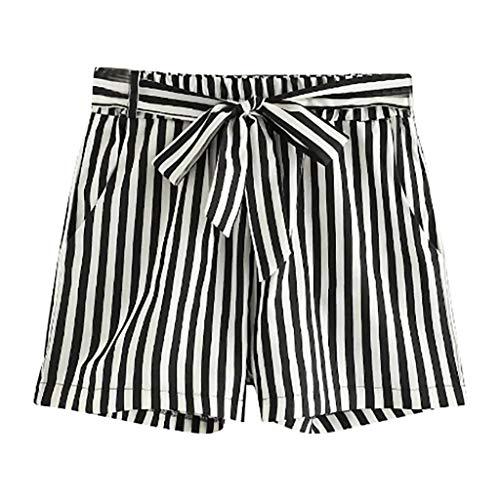 Luckycat Damen Streifen Shorts Yoga Sporthosen Sommerhosen High Waist Mode Kordelzug Kurze Hose Pants mit Taillenband Elegant Hot Pants Strandshorts