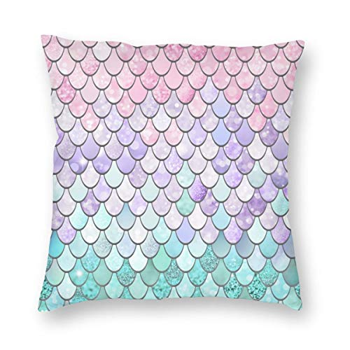 g Mermaid Pastel Pink Purple Aqua Teal Dekokissen Abdeckung Dekorative Schein für Home Bed Sofa Couch 25x25 Inch 65x65cm ()