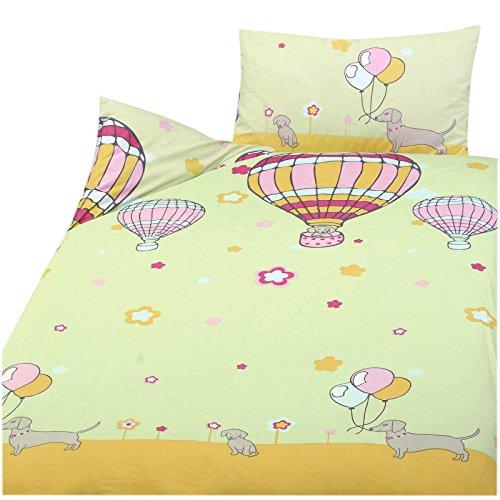 Julido Kinder Baby Bettwäsche 100% Baumwolle 100x135+40x60cm Hunde Ballons des. 42323-2