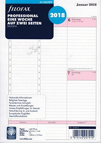 Filofax 000018-68553 Kalender, A5 Professional 1 Woche auf 2 Seiten (D) 2018