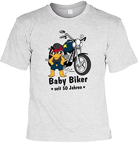 T-Shirt zum Geburtstag: Baby Biker seit 50 Jahren - Tolle Geschenkidee - Farbe: grau Grau
