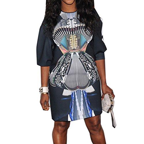 QIYUN.Z Demi-Manches Femmes Estivale O Decollete Tunique Mode Slim Imprimes Robe Courte Couleur