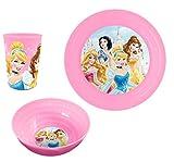 Party Factory Disney Princess Frühstücksset Plastik Rosa 3er Set Becher Teller Schale