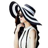 La Haute modischer Damen-Hut, großer gestreifter Sonnen-Strohhut, Strandhut mit breiter Krempe, Mädchen damen, schwarz