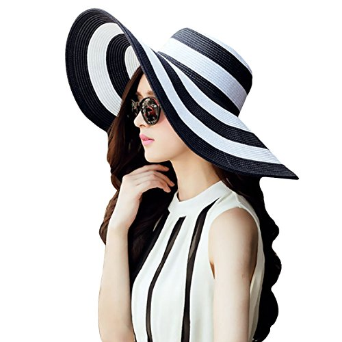 LA HAUTE-Cappello da sole a strisce, alla moda, cappello di paglia, tesa larga Cappello da spiaggia, Ragazza donna, nero