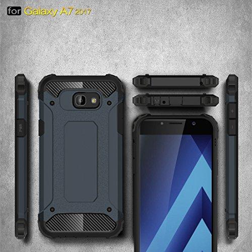 Tough Armor TPU + PC Kombi Hülle für Samsung Galaxy A7 (2017) / A720 by diebelleu ( Color : Dark blue ) Dark blue