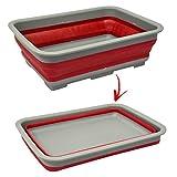Palangana plegable de silicona y plástico, con un diseño sencillo y abatible para camping, barco y viajes, rojo