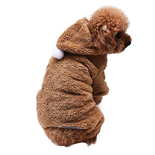 QIjinlook Haustier Hund Kleidung, Halloween Warme Weiche Kostüm Plüsch Kleidung Welpen Winter Pullover Bekleidung Jacke Mantel Warm Anzug mit Cap Weihnachten Weichen Katze Hoodie (XL, Khaki) -