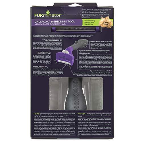 Furminator DeShedding-Tool - Cepillo para Gatos de tamaño M/L, Pelo Corto, para Gatos de tamaño Mediano a Grande, para la eliminación de la Lana Baja, diseño Mejorado