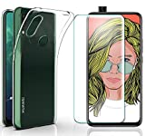 AOBOK [2 Stück], Hülle für Huawei P Smart Z, Panzerglas für Huawei P Smart Z, Transparent Weiche Silikon [ Ultradünnen ] Flexibel Bumper Handyhülle TPU Kratzfest Handy Schutzhülle