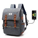 """iCasso Zaino per PC portatile 15,6"""" , Laptop Borsa Backpack leggero Viaggio Scuola anti-furto belt Business Borse multi-funzionale con USB Port , Grigio"""