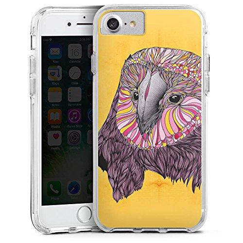 Apple iPhone 7 Bumper Hülle Bumper Case Glitzer Hülle Eule Uhu Owl Bumper Case transparent