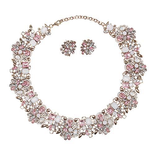Holylove Damen Statement Halskette Rosa, Costume Schmuck für Damen Neuheit Mode Halskette Ohrringe Armband 1 Set mit Geschenkbox- HL8041B Pink