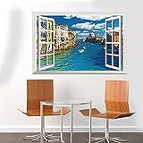 WPEWEI-3D-city river Home Ausstattung Hintergrund Wandaufklebern false Windows 60 * 90 cm.