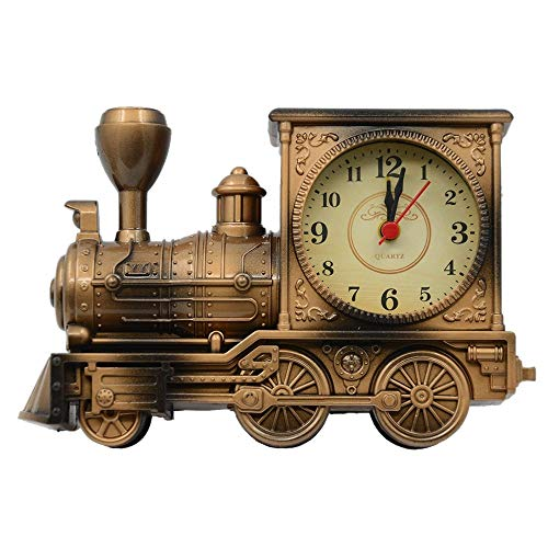 Home-office Sekretär (YSYDE Vintage Retro Train Style Studenten Wecker Tisch, Batterie Nicht im Lieferumfang enthalten, Desk Time Clock Cool Train Modell, für Home Office Regal Dekoration, Bronze)