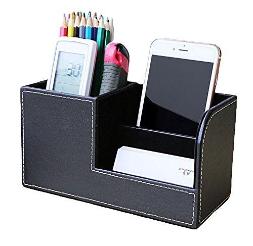 Nikgic Multifunktionale Leder Bleistift Container Büro Schreibtisch gefüllten Stift Rohr Sammlung Stift Karte Sitz (Schwarz) - Sammlung Sitz