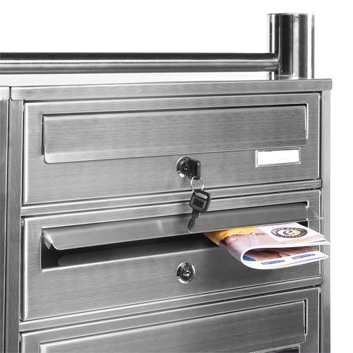 PRIMOPET Homelux V2A Edelstahl Standbriefkasten MBS08 Briefanlage Mailbox Postkasten mit 8 Brieffächer - 4