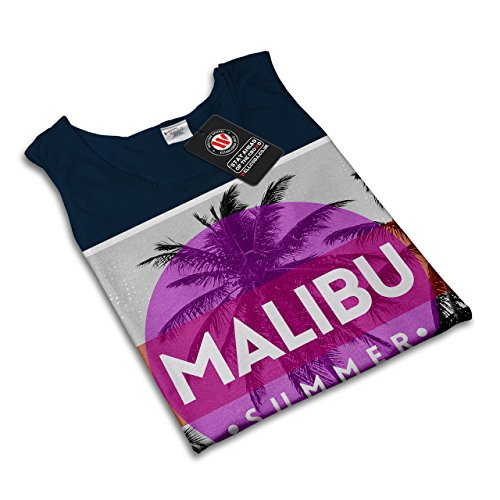 Malibu Sommer Sonne Urlaub Kalifornien Damen Schwarz S-2XL Muskelshirt | Wellcoda Marine