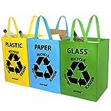 AMOS Lot de 3 Sacs Réutilisables 53L de Recyclage avec Poignées Séparateurs de Déchets pour Tri Sélectif du Papier Plastique Verre...