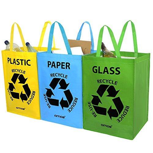 Amos set di 3 sacchetti con maniglie per raccolta differenziata 53l borse riutilizzabili per riciclaggio della plastica carta vetro segregazione dei spazzatura