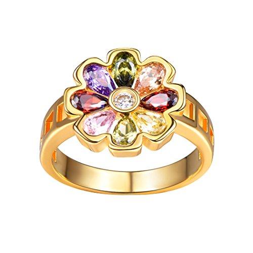 Suplight Damen Ring Bunte Blume 8 Kronblatt Ring 18K vergoldet Zirkonia Freundschaftsringe Partnerring Fingerring Schmuck für Hochzeit Verlobungsfeier 54(Gold) (Blume Ring Gold)