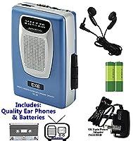 Retro Portable Personal Cassette Tape Player & Radio - inc Earphones �?? Built-In Speaker - inc Batteries (Exe VS-38 Package) (Blue (Inc Batteries & Power Adapter))