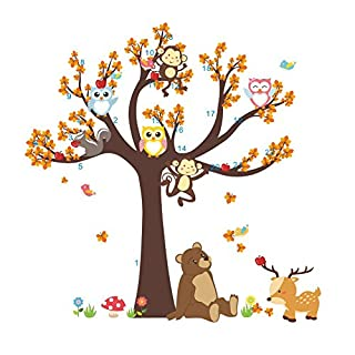 AWAKINK Cartoon Tree Lovely Animals Owl Bird Bear Monkey Branch Wall Stickers Wall Decal Vinyl Removable Art Wall Decals for Girls and Boys Nursery Room Children's Bedroom