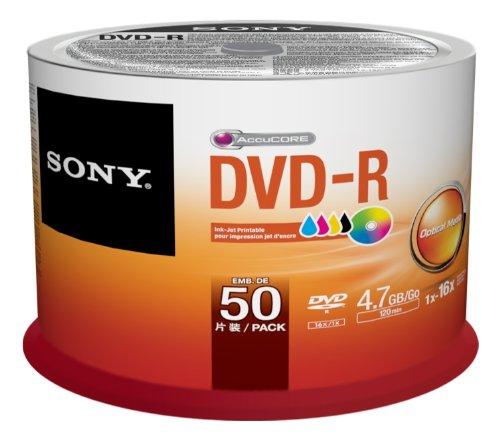 Sony 50DMR47PP - Bobina de 50 DVD-R grabables, 4.7 GB, imprimibles para impresoras de inyección de tinta