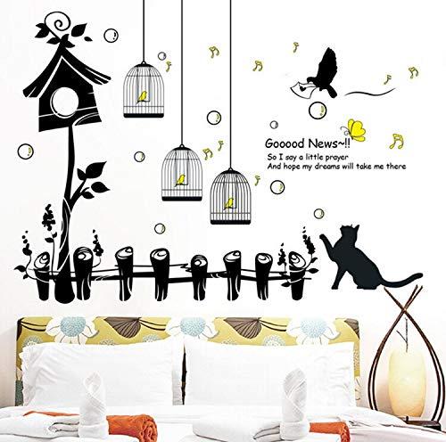 Happy bird cage nest katze große wandaufkleber wohnkultur wohnzimmer schlafzimmer kunst aufkleber tapete abnehmbare 103 * 138 cm