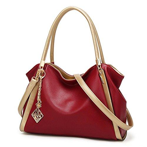 Borsetta Donna Moda Borsa Da A Spalla Messenger Nero Rosso