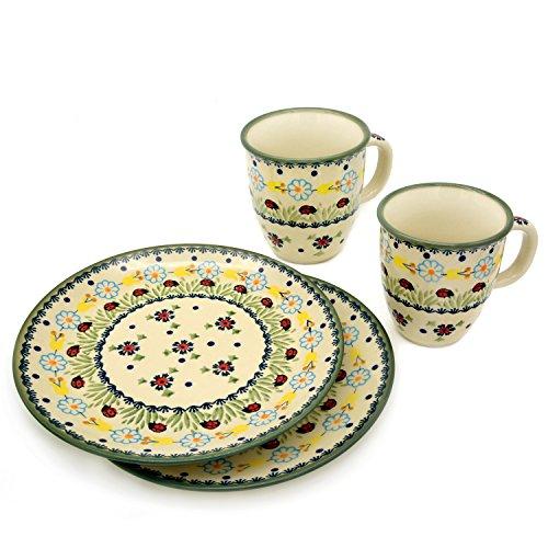 Bunzlauer Keramik Set mit 2 Bechern Mars 260 ml und 2 Tellern 21,5 cm (Dekor Marienkäfer)