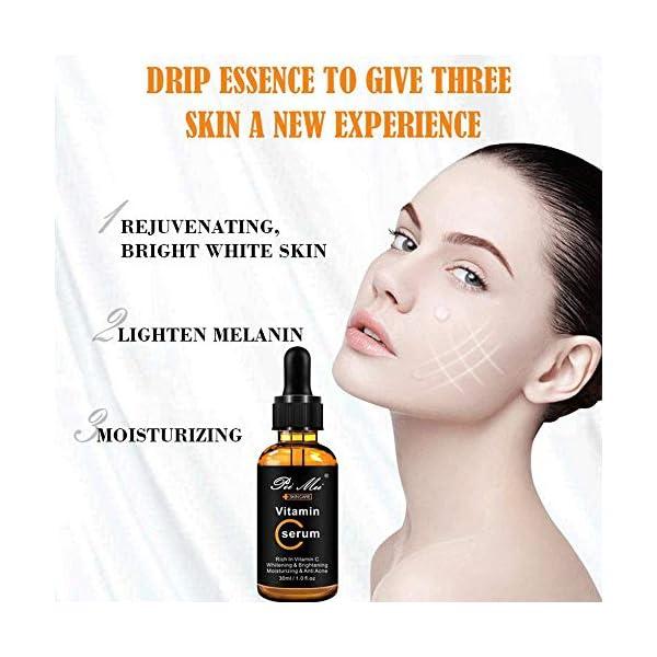 serum vitamina c, leegoal 30ML suero facial acido hialuronico natural AntiArrugas y Antiedad para la piel, círculos oscuros, líneas finas, arrugas, bolsas de ojos y pies para una Piel Sana y Joven