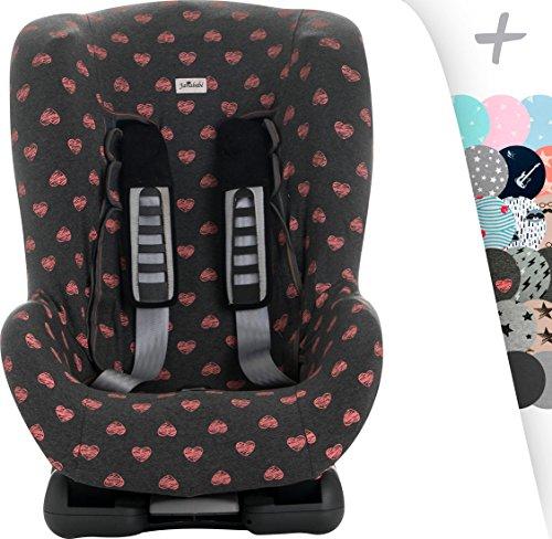 JANABEBE Schutzhülle Universal für Auto-Kindersitz Gruppe 1, 2 und 3 (FLUOR HEART)