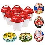 Simplefirst 6 Stück Silikon Eierkocher 6er Pack Eierkocher Hard Soft Maker Antihaft Silikon, Ohne Schale, Gekocht, Pochiert, Gedämpfte Eier