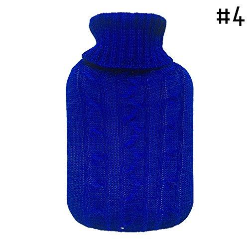 Preisvergleich Produktbild RUNGAO,  Wärmflaschen-Schutzhülle in Strick-Optik,  für 2.000-ml-Flaschen dunkelblau