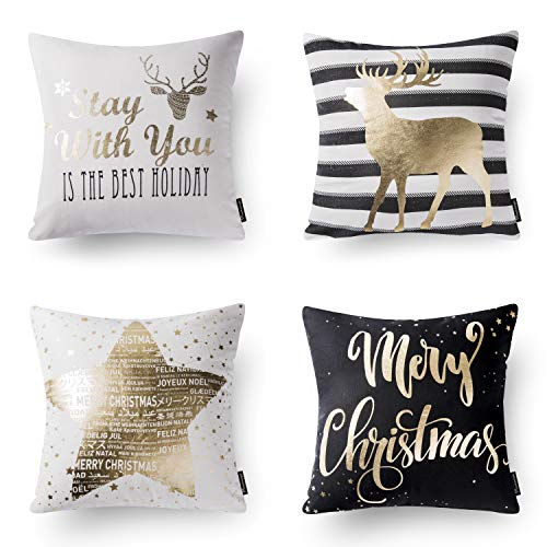 Phantoscope Decorative Merry Christmas Set of 4 Black and Golden Cushion Cover Throw Pillow Cases for Home Decor 18 x 18 inch 45 x 45 cm