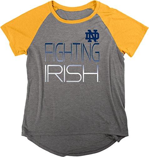 Blau 84NCAA Notre Dame Fighting Irish Damen Gracie Liquid Jersey Raglan Shirt, groß, anthrazit/navy