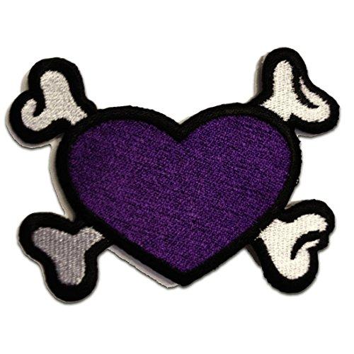 Parche púrpura del corazón del cráneo del punk rock de Emo...
