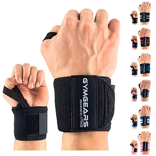 Handgelenk Bandagen [2er Set] Wrist Wraps 45cm - Profi Handgelenkbandage für Kraftsport, Bodybuilding, Powerlifting, CrossFit & Fitness - Für Frauen & Männer geeignet - 2 Jahre Gewährleistung -