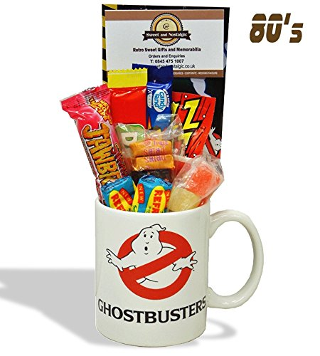 Ghostbusters Mug with a spooky selection of 80's retro sweets.