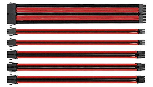 Thermaltake AC-033-CN1NAN-A1 Set di Cavi Modulari con Maniche, Nero/Rosso