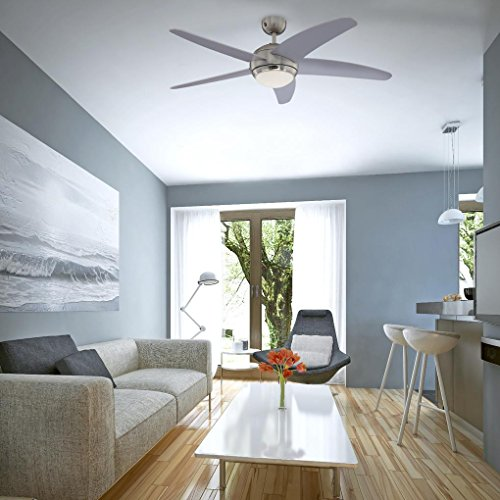 51%2B7NxkwP5L. SS500  - Westinghouse BENDAN Ceiling Fan, Metal, R7s, 80 W, Satin Chrome finish with silver blades