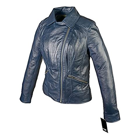 MEN'S SOFT REAL SHEEP LEATHER CORD COLLAR JACKET (Blue, M)
