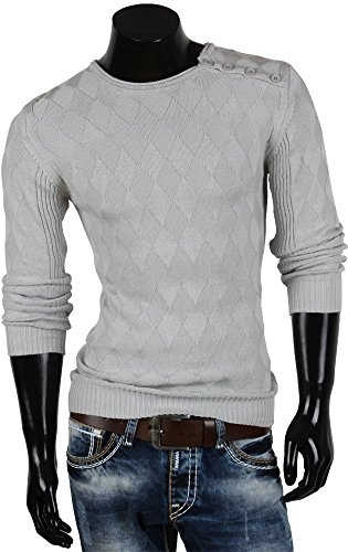 Tazzio pull-over pour homme en tricot nouveau gilet en tricot taille de l'étiquette Gris - Gris