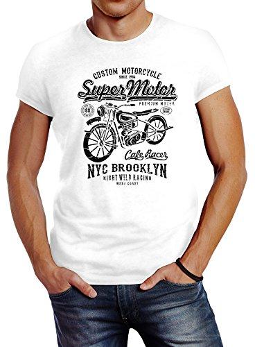 Herren T-Shirt Biker Shirt Motorrad Super Motor Retro Vintage Slim Fit Neverless® Weiß