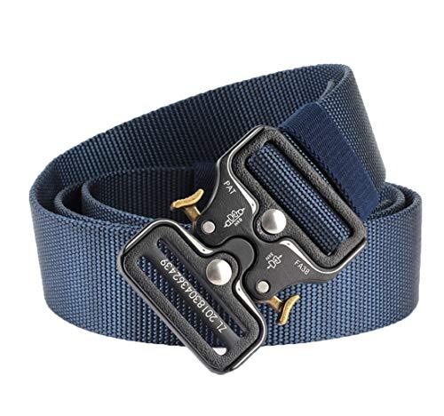 Longwu Cinturón táctico Cobra para hombres Cinturón de correas de alta resistencia Cinturones de nylon de estilo militar ajustable con hebilla metálica de liberación rápida Azul real