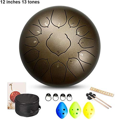 ALYR 12 Inches Tongue Drum, 1 13} Steel pan Drums Percussion Instrument mit Gummi Schlägel und gepolsterter Reisetasche Hang Drum,Bronze