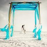 BIT.FLY Bitfly 10M x 1.35M(16.4 x 4.4 FT) Organza Voitures nœud Chaise Organza écharpe de Chaise Chemin de Table Jupe bannière décorations Mariage Ceremonie Anniversaire Fête (Turquoise)