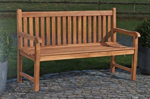 CLP Teakholz-Gartenbank CALYPSO mit Lehne I Holzbank für den Garten I Sitzbank mit Armlehnen I In verschiedenen Größen wählbar 180x64 cm
