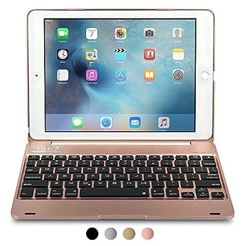 iPad Air 2 / Pro 9.7 Étui avec clavier, COOPER KAI SKEL Q0 Coque dure avec clavier sans fil QWERTY bluetooth étui de transport avec power bank batterie (l'or rose, Veille/Réveil)